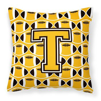 Letter T Football Black, Old Gold and White Fabric Decorative Pillow CJ1080-TPW1414