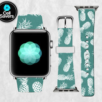Green Pineapple Pattern White Outline Trendy Cute Fruit Apple Watch Band Leather Strap iWatch for 42mm and 38mm Size Metal Clasp Watch Print
