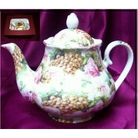 Pink Rose and Golden Grapes Chintz Porcelain Teapot Satin Lined Gift Box