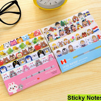 1PC lot NEW Cartoon animals sticky note Post it stick & memo paper bookmark stationery office School supplies message post