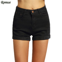 ROMWE Hot Sale Female New Arrival Clothing Fashionable High Street Cuffed Button Fly Mid Waist Pockets Denim Black Shorts