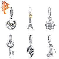 DIY Authentic Jewelry 925 Sterling Silver Crystal Heart Original Charms Beads Fit Pandora Bracelet Pendants With Clear CZ Gift