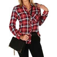 Sale-red Double Front Pocket Plaid Shirt