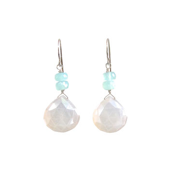 Moonstone and Aqua Chalcedony Earrings