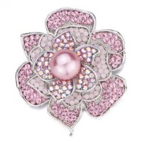 Pugster Rose Pink Swarovski Crystal Diamond Accent Flower And Light Pink Pearl Brooches And Pins:Amazon:Jewelry