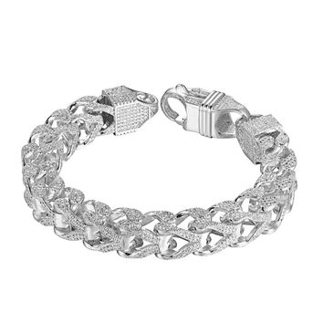 """Sterling Silver Franco Link Bracelet 11mm Chain 9"""" Iced Out Hip Hop Simulated Diamonds Silver Tone"""