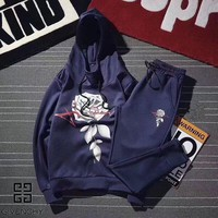 """""""Givenchy"""" Unisex Sport Casual Fashion Rose Flower Print Couple Long Sleeve Hooded Set Two-Piece Sportswear"""