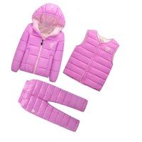 New Boys Girls Winter Baby Clothes Sets Children Down Jackets Cotton-padded Coat Vest Pants 3pcs lot Infant Warm Suits For Kids