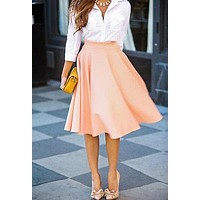 Super HOT Womens Summer High Waisted Skater Full Circle Pleated A-Line Ladies Midi Skirt