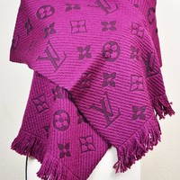 NEW LV Wool Logomania Scarf 100% Authentic M75503 Louis Vuitton Violet Purple
