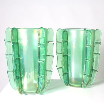 Murano Glass Vases signed by Pino Signoretto - Green
