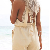 Summer Halter V-neck Lace Stitching Chiffon Open Back Rompers