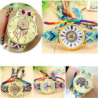 Weave Dreamer Elephant Feather Heart Life Tree Weave Watches Bohemia Ethnic Wristwatch = 1928604548