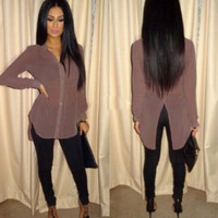 Solid Color Back Slit T-Shirt