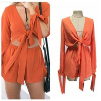 Sexy Bandage Jumpsuit Women Ribbon Bust Lacing Up Deep V neck Elastic Waist Rompers Womens Jumpsuit Playsuit Overalls mono S6609