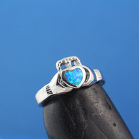 Sterling silver Claddagh Ring, Blue Opal ring, Friendship Irish ring, Valentine Day Best seller, Love, friendship, loyalty symbols. Rf 3181