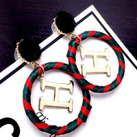 Free shipping-Hermes H letter ring wrapped earring stud earrings