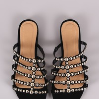 Bamboo Studded Grid Caged Slide Sandals
