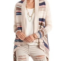 Mixed Stitch Striped Cascade Cardigan Sweater - Taupe Combo