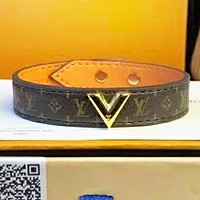 Louis vuitton LV Fashion new monogram print leather bracelet women Coffee