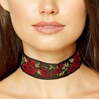 Trendy Wide Embroidered Floral Rose Flower Chokers Necklaces