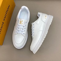 LV Louis Vuitton Men's Leather Boombox Low Top Sneakers Shoes