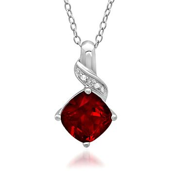 Lab Grown Gemstone and Diamond Pendant Necklace in .925 Sterling Silver