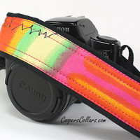 Watercolors 9 dSLR Camera Strap, One of a Kind, Pink, Orange, Yellow, Green