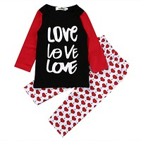 2pcs!!Toddler Infant Girls Outfits Red Heart Girls Set Letters long sleeve T-shirt +Heart Pants Kids Clothes Outfits Set