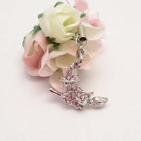 Pink Witch on Broom Cell Phone Charm Strap Rhine Stone