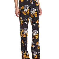 Theory Viewpine Distressed Floral-Print Silk Pants