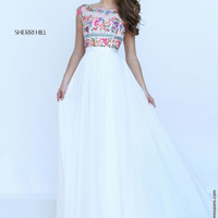Sherri Hill 50457 Cap Sleeve Chiffon Floor Length Prom Dress – Off White by Bridal Expressions