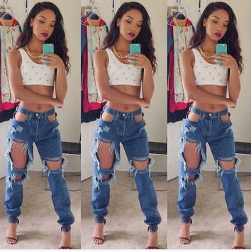 Jeans Ripped Holes Skinny Pants [8077546113]