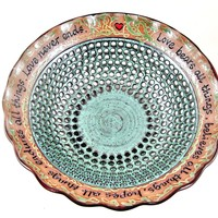 Pottery wedding anniversary bowl in Dark red and teal green - In stock 332 WB