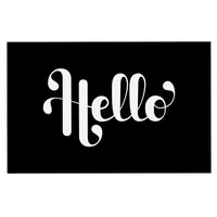 "Roberlan ""Hello"" White Black Decorative Door Mat"