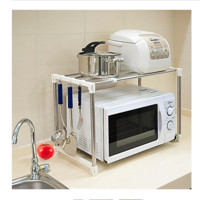 Stainless Steel Microwave Oven Stand Expandable Utility Shelf Kitchen Dorm