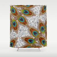 Pretty Peacock Feathers Shower Curtain by ArtLovePassion