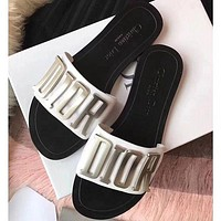 DIOR Holiday Series Alphabet Slippers Bronze Gold White