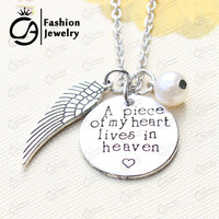 A piece of my heart lives in heaven Hand Stamped Remembrance Miscarriage Memorial Pendant Necklace Gift Jewelry for womem#LN1279