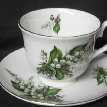 Lily of the Valley English Bone China Tea Cups Set of 2