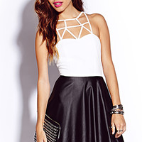 Caged Darling Faux Leather Dress