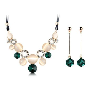 Austrian Crystal Fine female Charm wedding jewerly sets for women with Circular Opal Jewelry sets of african
