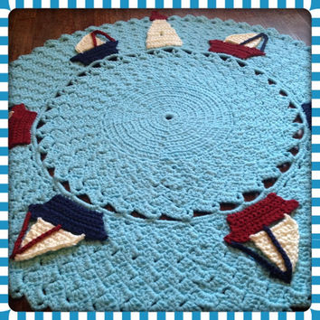 "Round Nautical OOAK Sailboat Large Nursery Decor Thick, Soft Crochet 36"" Area Rug (Sea in Popsicle Blue) Many Color Choices- Mat Housewares"