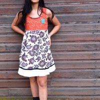 Cleo dress-medium large-artsy- Eco-upcycled-Anthropologi­e inspired-by Andys Summer design