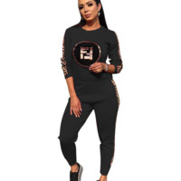 Fendi Women Fashion New Autumn And Winter More Letter Print Leisure Two Piece Suit Long Sleeve Top And Pants Black