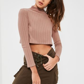 Missguided - Petite Exclusive Pink Ribbed High Neck Crop Top