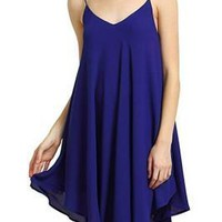 Flowing Deep Blue Asymmetrical Shift Dress Thin Strap