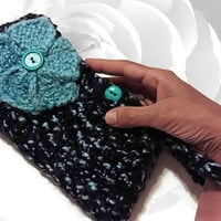 Blue Clutch, Black Clutch, Brown Clutch, Teal Clutch, Flower Clutch, Blue Purse, Teal Purse, Black Purse, Brown Purse, Colorful, Knitted Bag