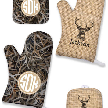 Personalized Mens Gift, Valentines Gift for Him, Personalized oven Mitt, Monogrammed Pot Holder,Monogrammed Oven Mitt, Personalized Kitchen