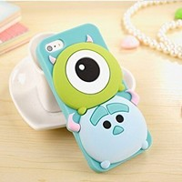 iPhone 6 Plus Case, Maxbomi - 3D Cute Cartoon Alien Monsters Mike Wazowski and James P. Sullivan Sulley Soft Silicone Rubber Protective Skin Protector Back Case Cover for iPhone 6 Plus (5.5 inch)